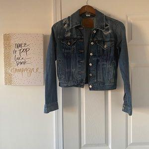 Levi's dark denim distressed jean jacket sz XS